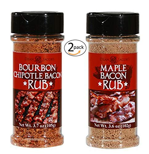 Dean Jacob's Bourbon Chipotle Bacon Rub 3.7 oz. and Maple Bacon Rub 3.6 oz - shaker Jar 2 pack