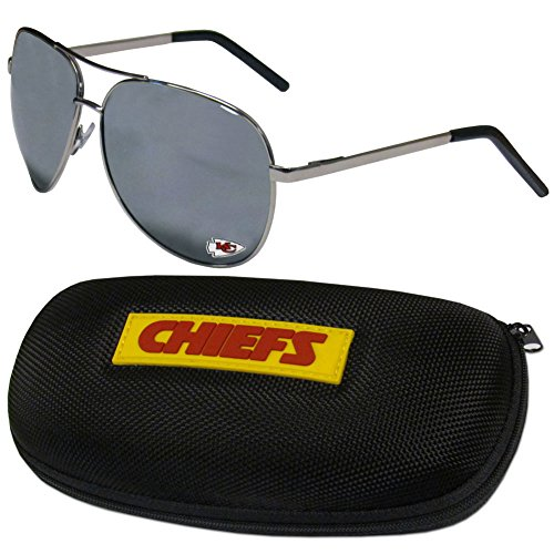 NFL Kansas City Chiefs Aviator Sunglasses & Zippered Carrying Case ()