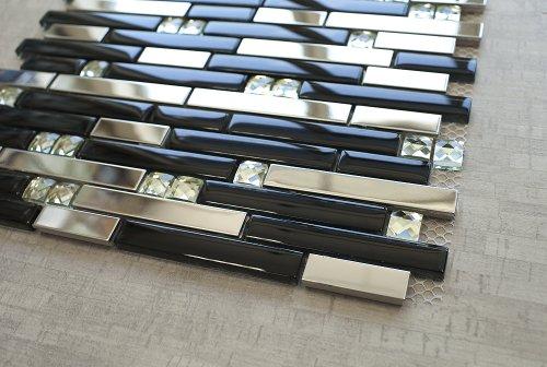 - Silver Stainless Steel Tile + Silver Glass Tile (Diamond Shape) + Black Glass Mosaic Tile