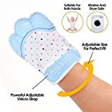 Nibblit Baby Teething Mitten | Self-Soothing Pain Relief Teether Toy Mitt & Glove for Babies, Toddlers, Infants, Boy and Girl | BPA Free | 6-12 Months | Blue