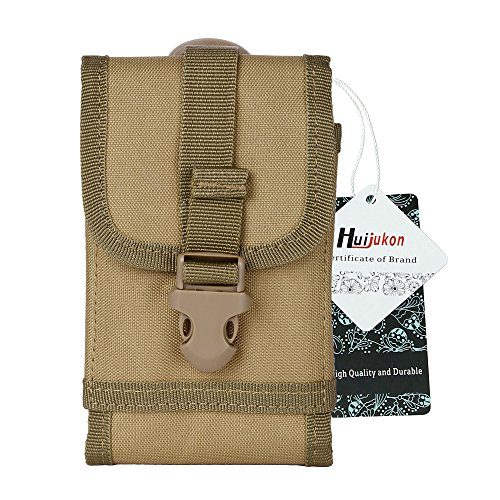 Huijukon Tactical Phone Belt Holster Molle Smartphone Pouch for iPhone 11 Pro iPhone 7/8 iPhone 7/8 Plus, Galaxy Note 8 / S7 / S8 Edge, Moto X with Slim Case (Khaki)