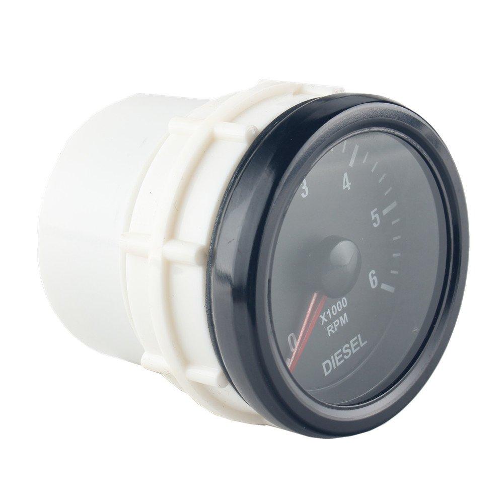 Dewhel Universal 52MM 2 Vision Black Diesel 6K Speed RPM 6000 Electrical Tachometer tachos Rev Counter Gauge Whiter LED JDM Sport Meter Kit Car interior Accessories For Diesel Engine