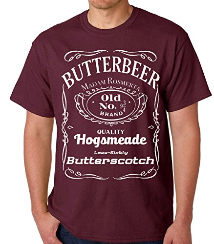 Raw T-Shirts Vintage Butterbeer - Old No. 9 3/4 - Harry Potter Butter Scotch Men's T-Shirt (X-Large, Maroon)