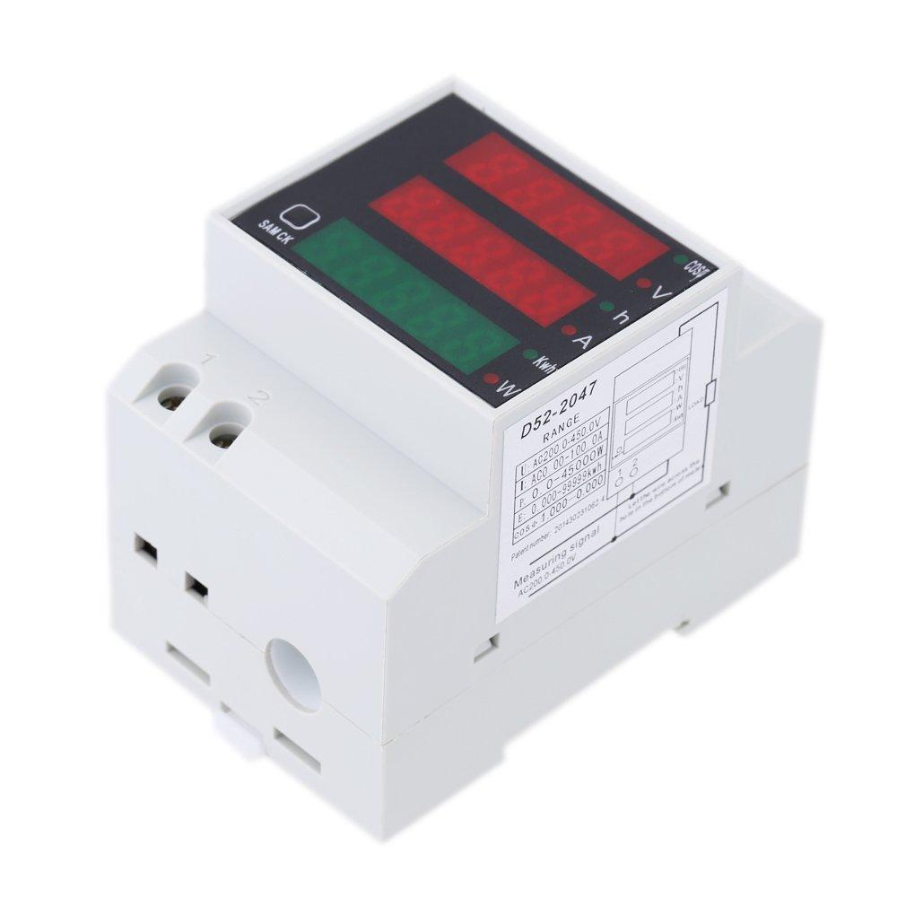 KKmoon 200-450V multifunzionale digitale Din Rail attuale tensione amperometro voltmetro Display misuratore di potenza