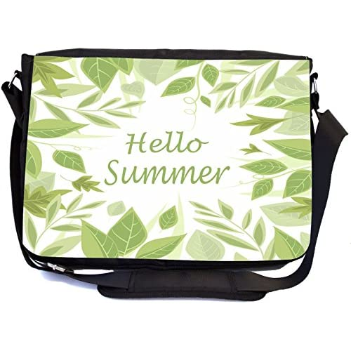Rikki Knight Hello Summer Green Leaves Design Design Multifunctional Messenger Bag - School Bag - Laptop Bag - with padded insert for School or Work - Includes Matching Compact Mirror
