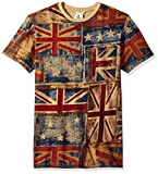 Akademiks Men's Uk Flag Vintage T-Shirt, Blue, X-Large