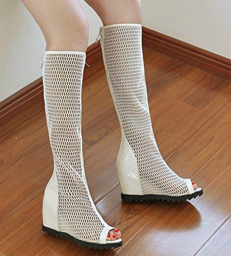 Bottes Tige Compensé Pente Haute Ajourer Mode Aisun Sandales Blanc Femme Talon U8xqwBWOS