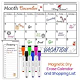 USA Made Magnetic Dry Erase Calendar for Refrigerator with 6 Markers & Magnetic