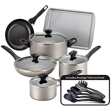 Farberware Dishwasher Safe Nonstick 15-Piece Cookware Set, Champagne