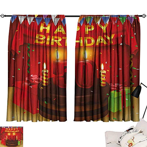 50th Birthday Curtain Kids Chocolate Cake with Number Candles Presents Confetti Ribbons and The Flags livingroom Darkening Curtains Multicolor W55 x L39 by Jinguizi (Image #6)