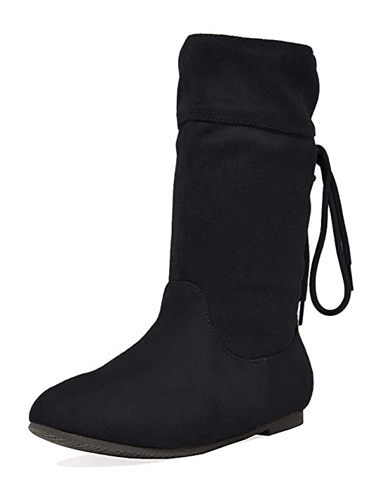 DREAM PAIRS Girls Faux Suede Knee High Boots