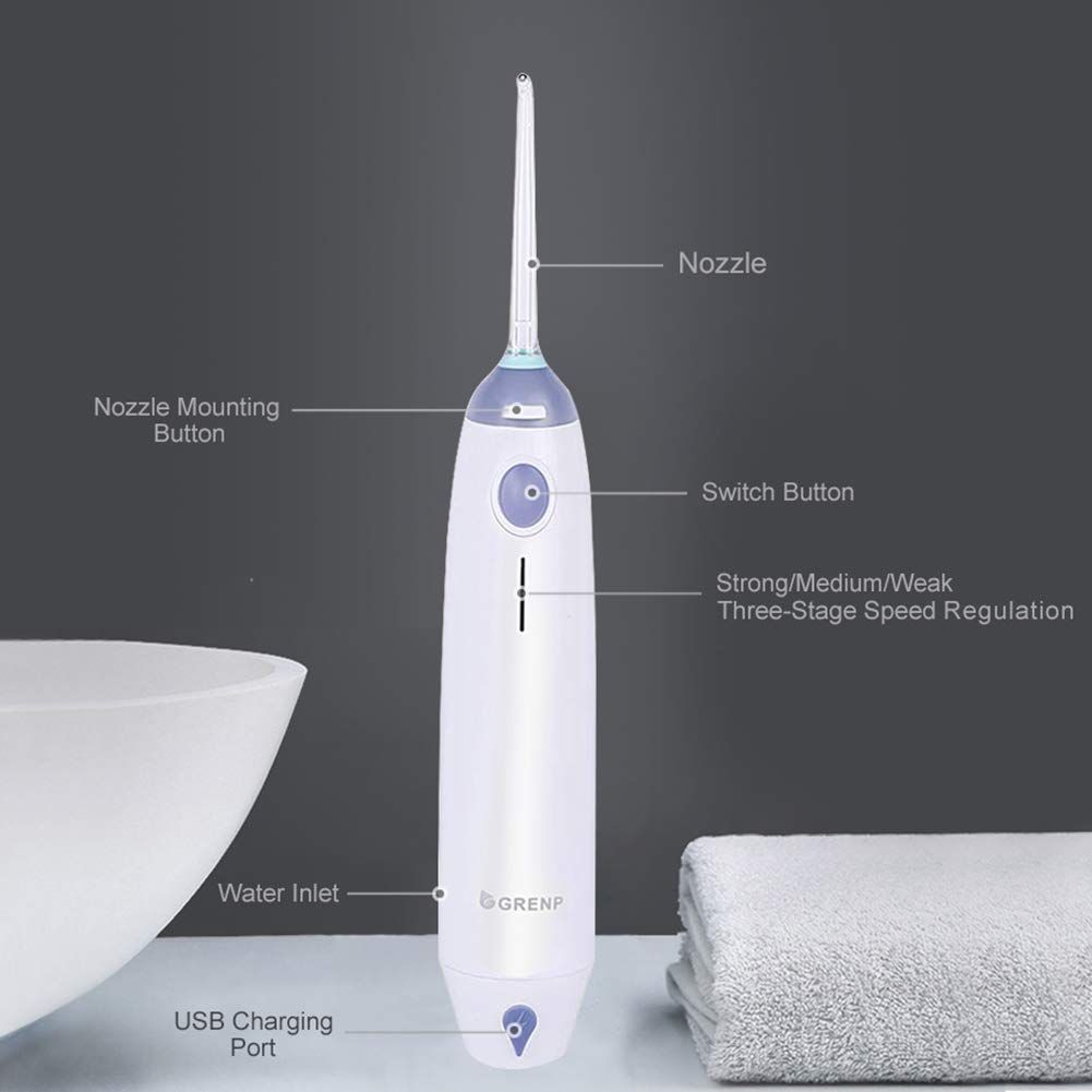 Cordless Water Flosser Oral Irrigator – GRENP Portable Dental and Rechargeable IPX6 Waterproof 3 Modes Water Flossing for Teeth Braces, USB Rechargeable, for Family Travel Use