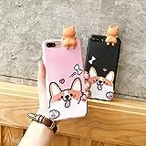 iPhone 6s/6 3D Animal Cell Phone TPU Case Cute Welsh Corgi Peeking on Top Slim Flexible Crystal Silicone Protective TPU Gel Skin Case Cover for Apple iPhone 6s/6(iPhone 6s/6, Corgi Black)