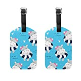 Travel Luggage Tag Cute Swim Hippo Girl PU Leather Baggage Suitcase Tag Name Address ID Label 2 Pieces Set