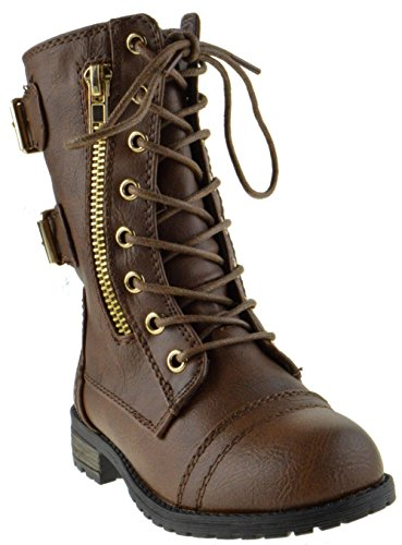 Brown Combat Boots For Girls (Mango 71K Little Kids Combat Lace Up Boots Brown 4)