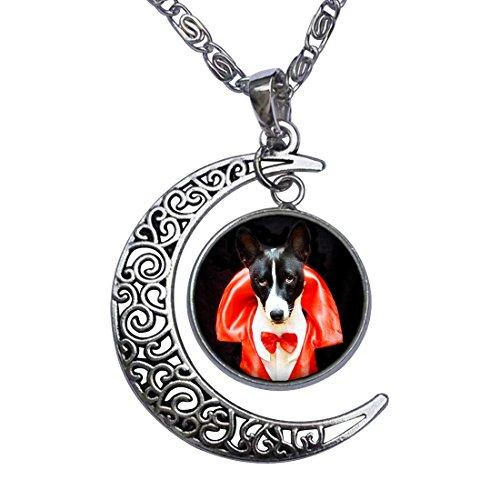 little dog Halloween costume Crescent Moon Galactic Universe Glass Cabochon Pendant Necklace