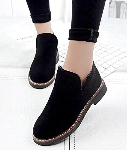 Idifu Kvinners Vintage Faux Suede Lav Chunky Hæler Chelsea Ankel Boots Black