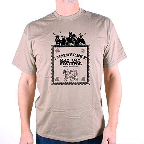 Old Skool Hooligans Inspired by The Wicker Man T shirt - Summerisle Midsummer Festival (L) Khaki -