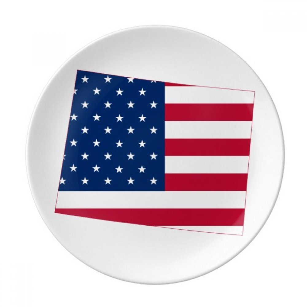 Wyoming America Map Stars Stripes Flag Dessert Plate Decorative Porcelain 8 inch Dinner Home
