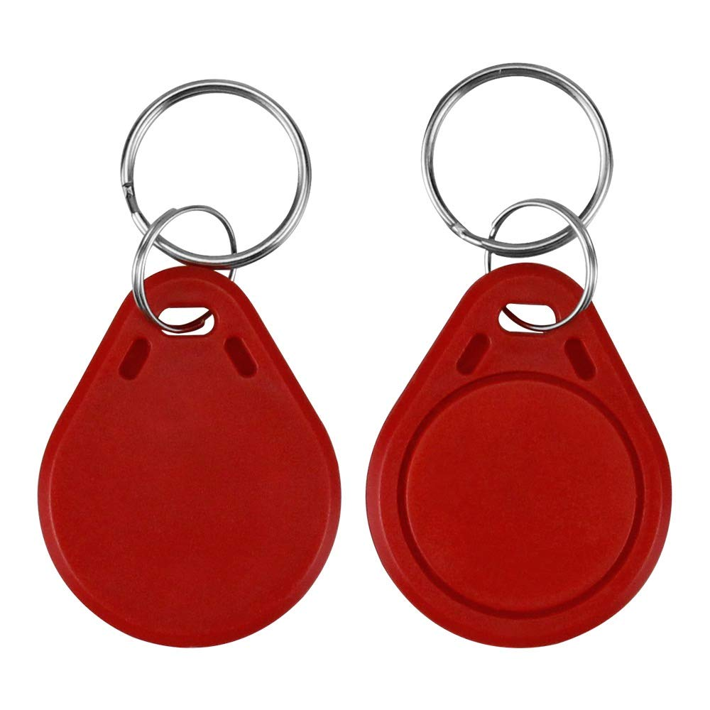 LIBO RFID Keychains NFC Smart Key Tag Card RFID Access Control Keyfobs Proximity 13.56 MHz MF Classic 1k IC S50 Token Read Only (Red, Pack of 100) by LIBO Smart Home (Image #1)