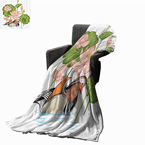 (smllmoonDecor Duck Decorative Throw Blanket Baby Mandarin Duckling in Pond with Lotus Lily Flowers Water Painting Style Arsty Print Sofa Chair Blanket 60