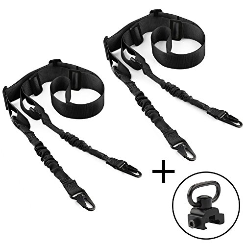 accmor 2 Pack 2 Point Rifle Sling with 1 Pcs QD Sling Swivel,Multi-Use Two Point Gun Sling with Length Adjuster for Hunting, Shooting