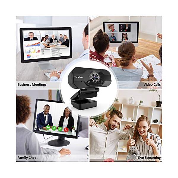 TedGem Webcam, Full HD 4K/1080P PC Webcam Camera con Microfono USB Live Streaming Webcam per Videochiamate e… 7 spesavip