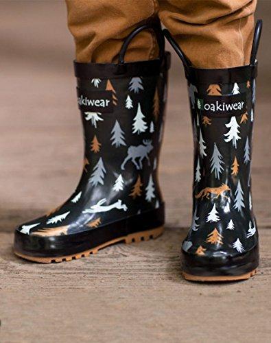 Oakiwear Kids Rubber Rain Boots With Easy-on Handles, Wildlife Tracker, 4Y US Big Kid - Image 5