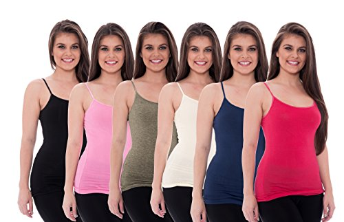 6 Pack Women's Tanks Tops Cotton Cami Ladies Adjustable Spaghetti Strap Camisole, XL