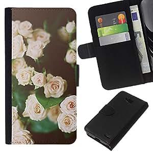 KLONGSHOP // Tirón de la caja Cartera de cuero con ranuras para tarjetas - rosas vignette rosa verde negro de primavera - LG OPTIMUS L90 //