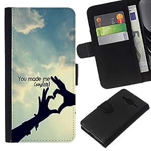 KingStore / Leather Etui en cuir / Samsung Galaxy Core Prime / Usted me termina la cita del amor Perfección Hecho