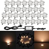Pack of 30 QACA Recessed LED Deck Lighting Kits 12V Low Voltage Φ30mm Waterproof IP 67,LED In Ground Lighting for Steps,Stair,Patio,Floor,Pool Deck,Kitchen,Outdoor LED Landscape Lighting Warm White