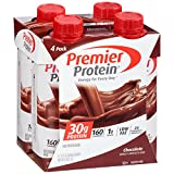 Premier Protein 30g Protein Shakes (Pack of 4) Chocolate (Available in Vanilla, Strawberry, Caramel, Banana), 1g sugar, 5g carbs, Low Fat, 24 Vitamins & minerals