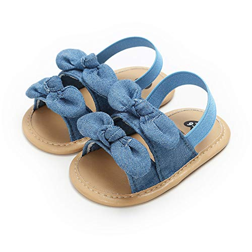 Sabe Summer Infant Baby Girls Sandals Striped Bowknot Soft Rubber Sole First Walker Shoes (0-6 Months, H-Blue)
