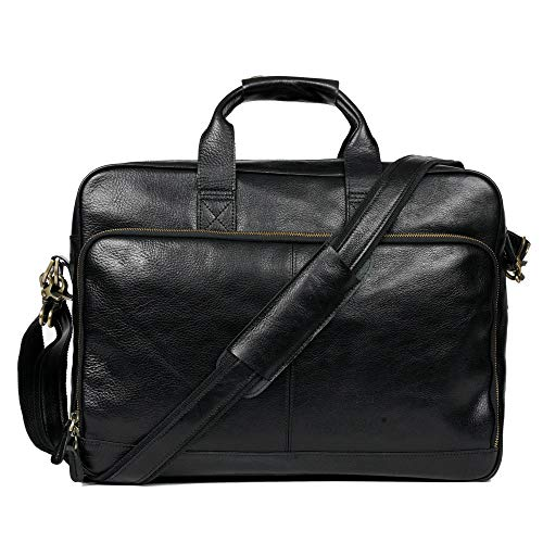 "Genuine Leather Briefcase Messenger Bag Sturdy Durable(Double Metal connection,Multiple Suture) Fits 15.6""Laptop No Fading (Dark)"