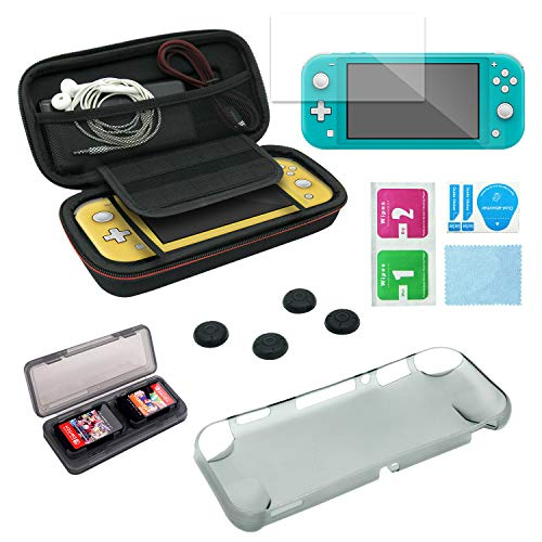 Switch Lite Accessories Kit- Switch Lite Carrying Case + Gray TPU Protective Cover Shell + Tempered Glass Screen Protector + 4 Thumb Grips for Joycon Controllers + 4 Game Storage Case