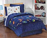 dream FACTORY Outer Space Satellites Boys Comforter Set, Blue, Full