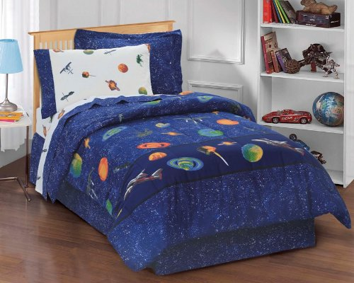 Dream Factory Outer Space Satellites Boys Comforter Set, Blue, Twin (Space Twin Comforter)