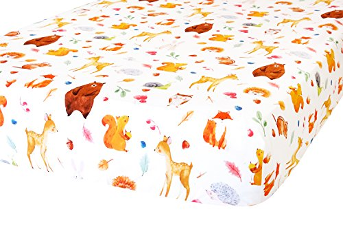 100% Organic Cotton Fitted Crib Sheet by ADDISON BELLE - Premium Baby Bedding - Soft, Breathable & Durable (Woodland Animals)