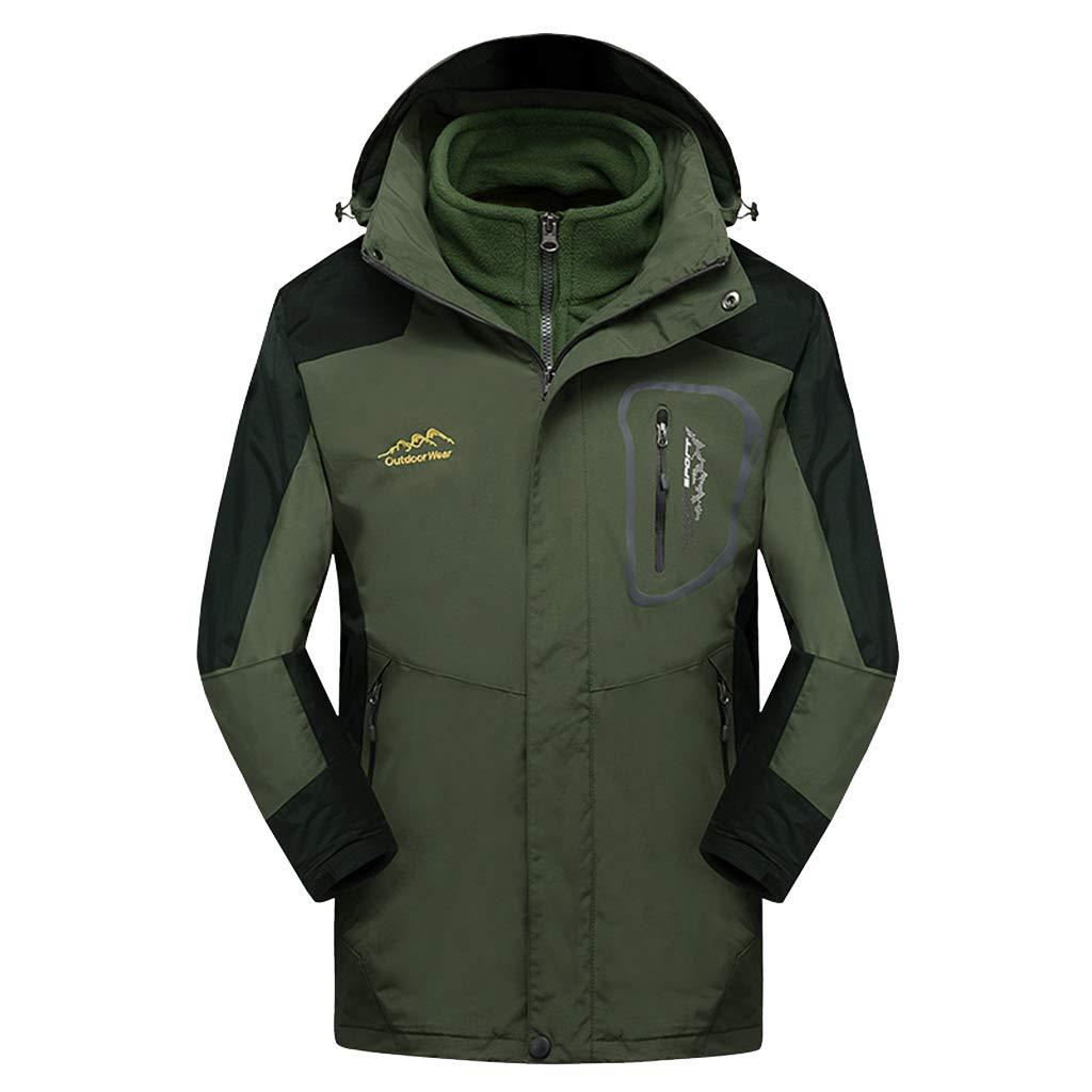 Herren Mountain Ski Jacket wasserdicht Winddicht 3 in 1 Winterjacke Abnehmbare Innen Fleece-Jacke für Wandern Wandern Camping
