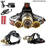 Produit Royal Tactical 30000 Lumens LM Cree 3X XML T6 LED Headlamp Headlight Lamp Flashlight Torch Zoom Able Adjustable 4 Modes and Degree 2x 18650 Battery Rechargeable with AC Charger and Car Charger