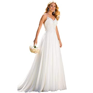 75808487c31b ShiningBridal Luxurious Lace and Soft Silk Chiffon A Line Wedding Gowns V  Neck Backless Boho-