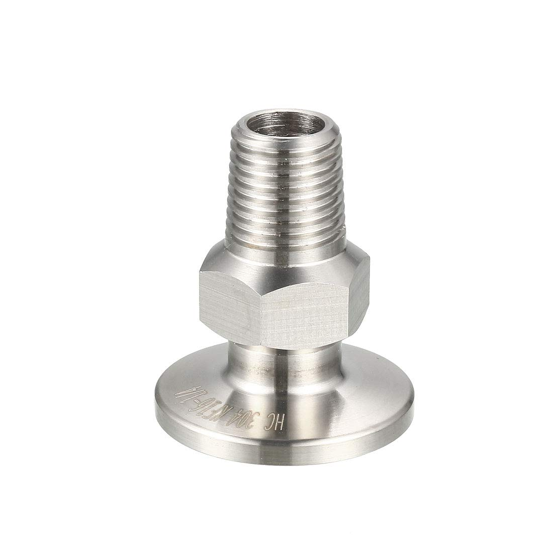uxcell Sanitary Pipe Fitting KF16 Male Threaded 1/4 PT to Tri Clamp OD 30mm Ferrule