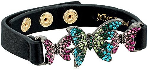 Betsey Johnson Womens Black Leather Bracelet With Colorful Butterflies