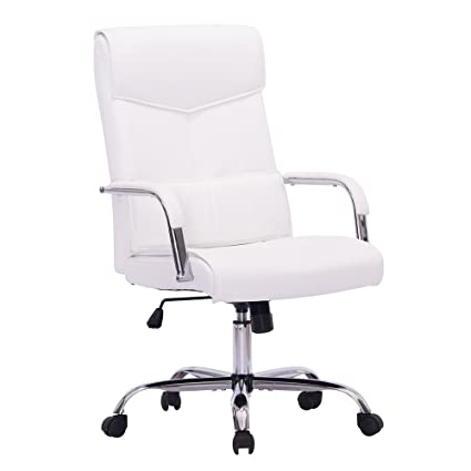 Review Sidanli Mid-Back Ergonomic Executive Home Office PU Chair, Swivel Desk Chair Back Lumbar,Heavy Duty Computer Task Chair Chrome Base Armrests (White)