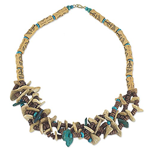 "NOVICA Brass and Coconut Shell Wood Beaded Necklace, 25"", Rustic Grace"