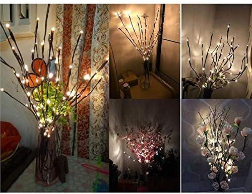 Winnes Luces LED de ramas de sauce artificiales exteriores festivales fiestas funciona con pilas para decoraci/ón de interiores 2 paquetes de 40 cuentas LED impermeables color blanco