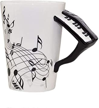 Ufengke Musical Notes Design Coffee Mug Tea Cup Creative Black Piano Handle Personalise Ceramic Coffee Cup Milk Cup For Household Office Amazon Co Uk Kitchen Home