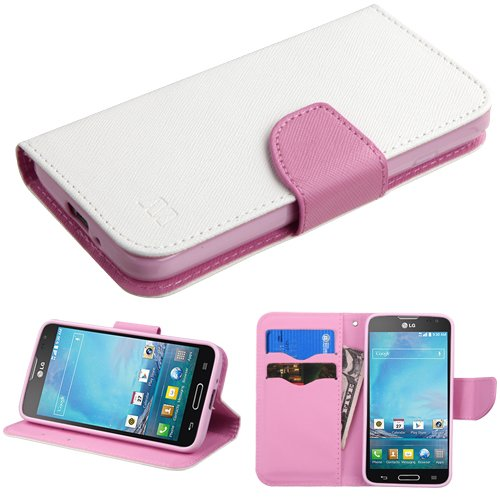 Asmyna LG D415 Optimus L90 MyJacket Wallet with Card Slot - Retail Packaging - White Pattern/Pink - Case L90 For A Lg