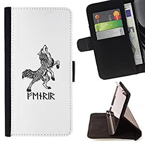 Celtic Viking Wolf White Black Ink Tattoo - Painting Art Smile Face Style Design PU Leather Flip Stand Case Cover FOR Samsung Galaxy Note 4 IV @ The Smurfs